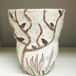Birds in tree vase, earthenware