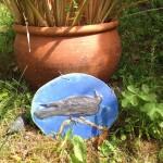 Blackbird plaque, stoneware